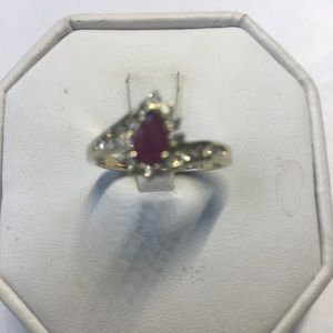 14 K solid yellow gold diamonds ruby ring